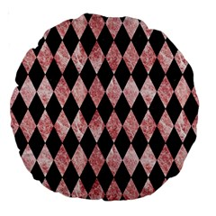 Diamond1 Black Marble & Red & White Marble Large 18  Premium Round Cushion  by trendistuff