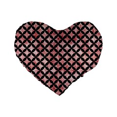 Circles3 Black Marble & Red & White Marble (r) Standard 16  Premium Flano Heart Shape Cushion  by trendistuff