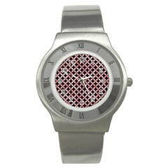 Circles3 Black Marble & Red & White Marble Stainless Steel Watch by trendistuff