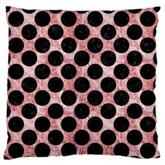 Circles2 Black Marble & Red & White Marble (r) Large Flano Cushion Case (one Side) by trendistuff