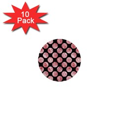 Circles2 Black Marble & Red & White Marble 1  Mini Button (10 Pack)  by trendistuff