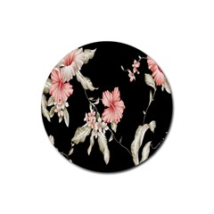 Buds Petals Dark Flower Pink Rubber Round Coaster (4 Pack)  by AnjaniArt