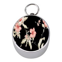 Buds Petals Dark Flower Pink Mini Silver Compasses by AnjaniArt