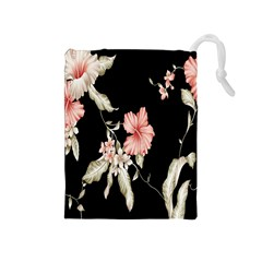 Buds Petals Dark Flower Pink Drawstring Pouches (medium)  by AnjaniArt