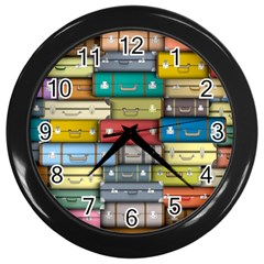 Colored Suitcases Wall Clocks (black) by AnjaniArt