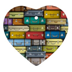 Colored Suitcases Heart Ornament (2 Sides) by AnjaniArt