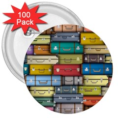 Colored Suitcases 3  Buttons (100 Pack)