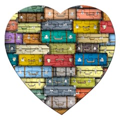 Colored Suitcases Jigsaw Puzzle (heart) by AnjaniArt