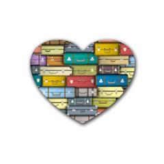 Colored Suitcases Rubber Coaster (heart)