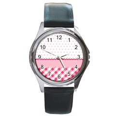 Cute Cartoon Decorative Pink Round Metal Watch