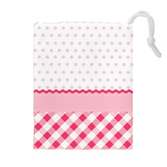 Cute Cartoon Decorative Pink Drawstring Pouches (extra Large) by AnjaniArt