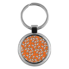 Cat Hat Orange Key Chains (round)  by AnjaniArt