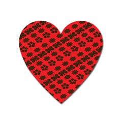 Diogonal Flower Red Heart Magnet