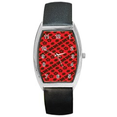 Diogonal Flower Red Barrel Style Metal Watch