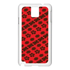 Diogonal Flower Red Samsung Galaxy Note 3 N9005 Case (white) by AnjaniArt