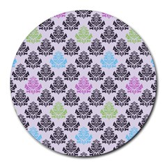 Damask Small Flower Purple Green Blue Black Floral Round Mousepads