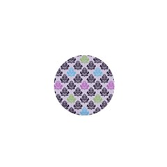 Damask Small Flower Purple Green Blue Black Floral 1  Mini Buttons