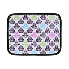 Damask Small Flower Purple Green Blue Black Floral Netbook Case (small)