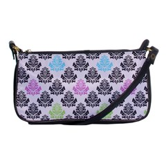 Damask Small Flower Purple Green Blue Black Floral Shoulder Clutch Bags by AnjaniArt