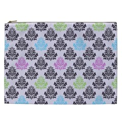 Damask Small Flower Purple Green Blue Black Floral Cosmetic Bag (xxl)