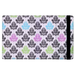 Damask Small Flower Purple Green Blue Black Floral Apple Ipad 2 Flip Case