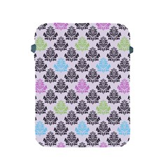 Damask Small Flower Purple Green Blue Black Floral Apple Ipad 2/3/4 Protective Soft Cases by AnjaniArt