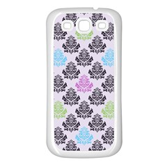 Damask Small Flower Purple Green Blue Black Floral Samsung Galaxy S3 Back Case (white)