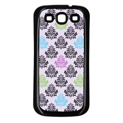 Damask Small Flower Purple Green Blue Black Floral Samsung Galaxy S3 Back Case (black) by AnjaniArt