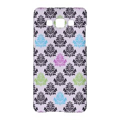 Damask Small Flower Purple Green Blue Black Floral Samsung Galaxy A5 Hardshell Case  by AnjaniArt