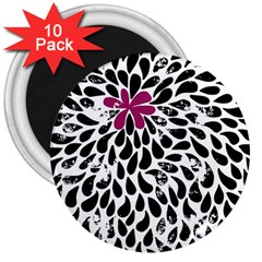Flower Simple Pink 3  Magnets (10 Pack)  by AnjaniArt
