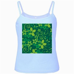 Flower Yellow Green Baby Blue Spaghetti Tank