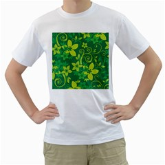 Flower Yellow Green Men s T Shirt (white) (two Sided)