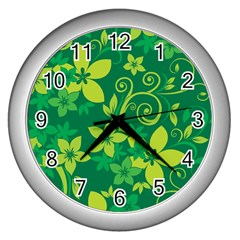Flower Yellow Green Wall Clocks (silver)  by AnjaniArt