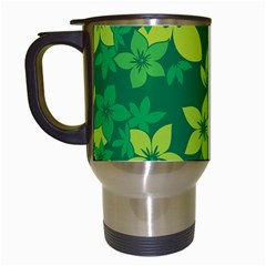 Flower Yellow Green Travel Mugs (white) by AnjaniArt