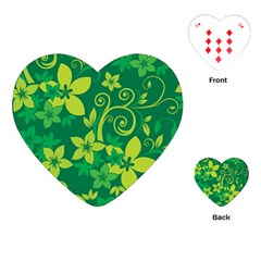 Flower Yellow Green Playing Cards (heart)