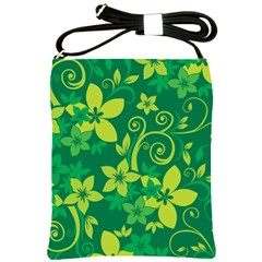 Flower Yellow Green Shoulder Sling Bags by AnjaniArt