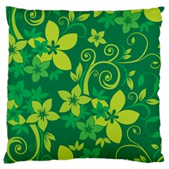 Flower Yellow Green Large Cushion Case (two Sides)