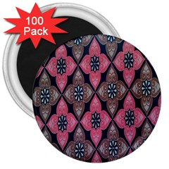 Flower Pink Gray 3  Magnets (100 Pack) by AnjaniArt