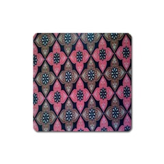 Flower Pink Gray Square Magnet by AnjaniArt