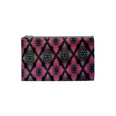 Flower Pink Gray Cosmetic Bag (small)