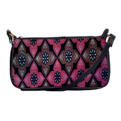Flower Pink Gray Shoulder Clutch Bags by AnjaniArt