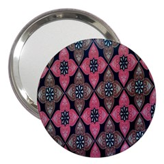 Flower Pink Gray 3  Handbag Mirrors