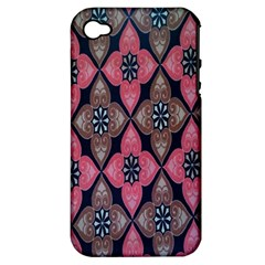 Flower Pink Gray Apple Iphone 4/4s Hardshell Case (pc+silicone) by AnjaniArt