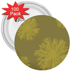 Flower Yelow 3  Buttons (100 Pack)