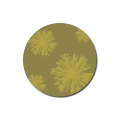 Flower Yelow Rubber Coaster (round)  by AnjaniArt