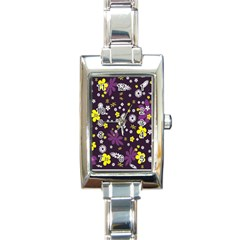 Floral Purple Flower Yellow Rectangle Italian Charm Watch
