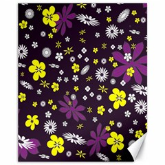 Floral Purple Flower Yellow Canvas 11  X 14
