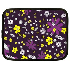 Floral Purple Flower Yellow Netbook Case (large) by AnjaniArt