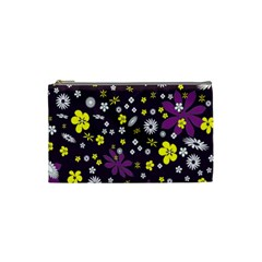 Floral Purple Flower Yellow Cosmetic Bag (small)