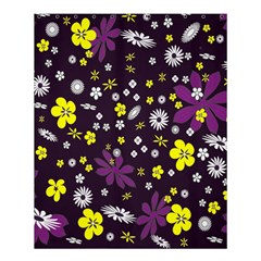 Floral Purple Flower Yellow Shower Curtain 60  X 72  (medium)  by AnjaniArt
